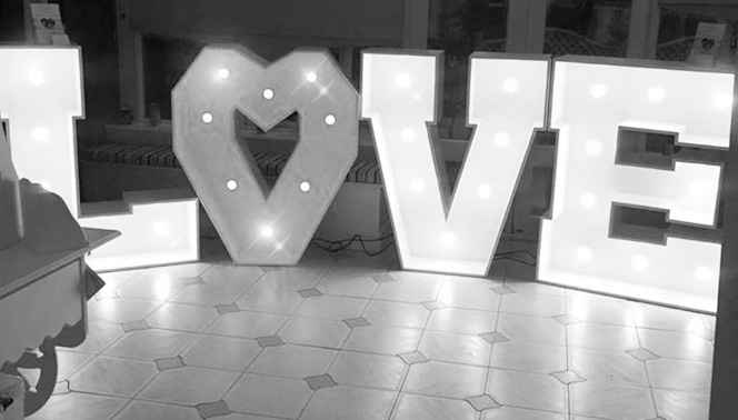 Hire light up LOVE letters | Weddings in Yorkshire