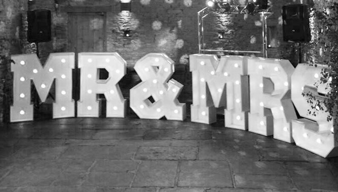 Hire light up MR&MRS, DANCE, PROM letters | Celebrations in Yorkshire
